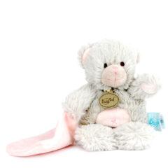 Doudou plat ourson gris et rose - Baby Nat