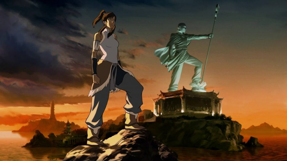 Korra devant la statue de l'avatar Aang