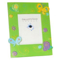 Cadre photo vert papillons et fleurs