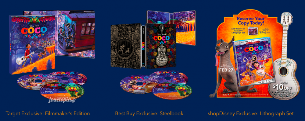 Editions Blu-Ray US de Coco (Disney/Pixar)