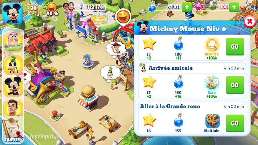 Disney Magic Kingdoms : récompenses de quêtes