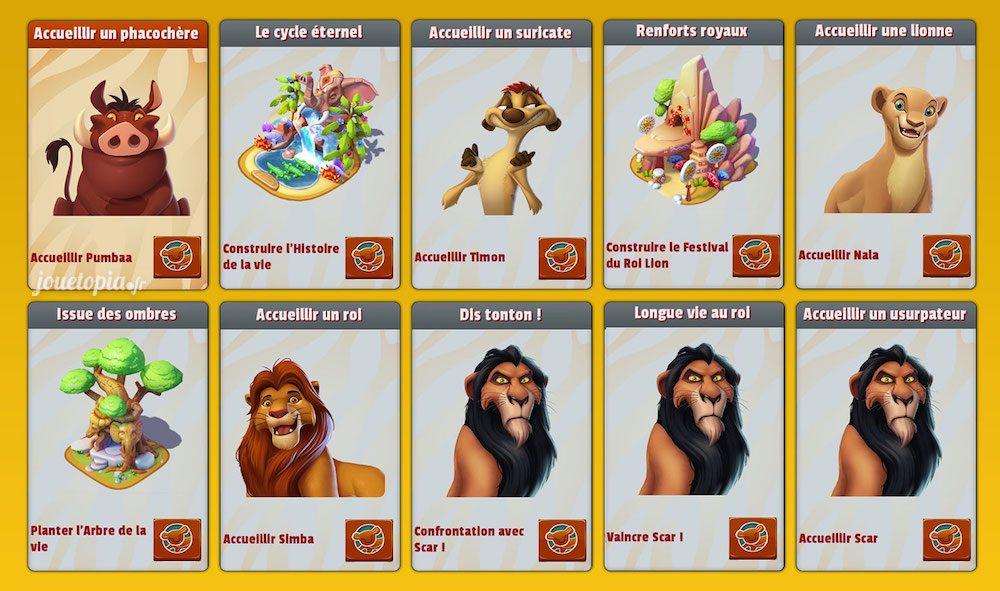 Etapes de l'évènement Le Roi Lion (DMK)