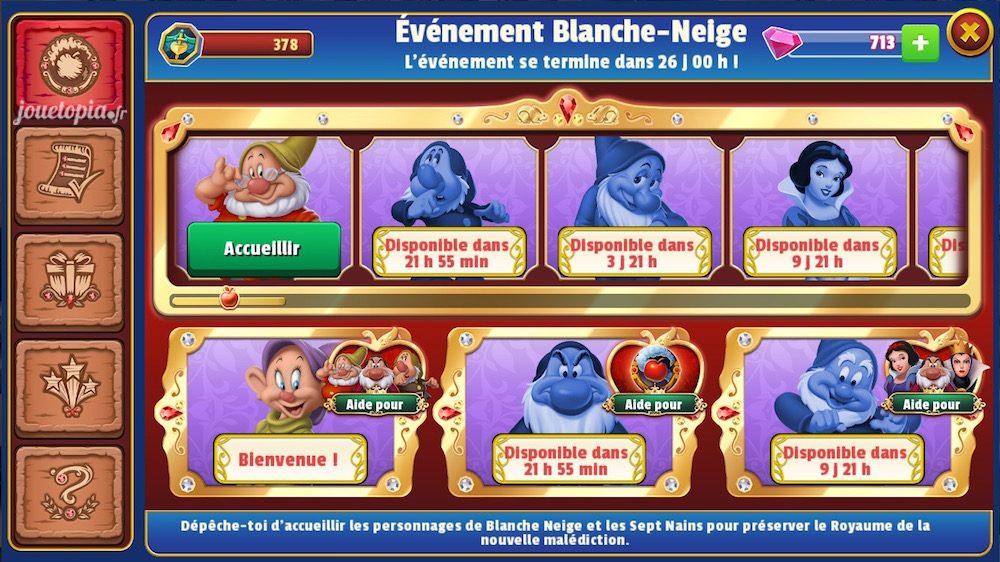 Blanche-Neige : Interface de l'évènement