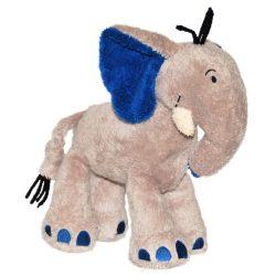 Doudou éléphant gris et bleu au bruit papier