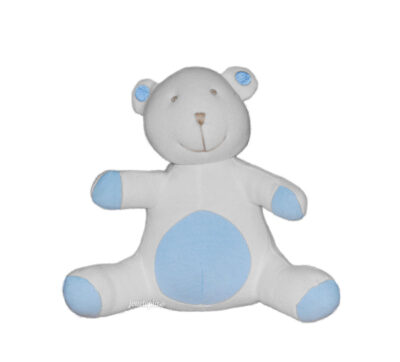 Doudou petit ours blanc bleu
