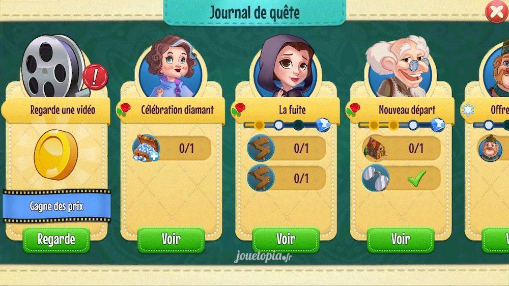 Journal des quêtes dans Histoires Enchantées, de Disney