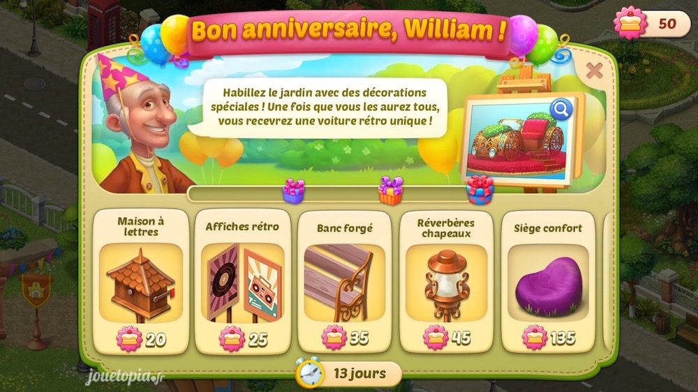 HomeScapes : Grand évènement Bon Anniversaire William (2019)
