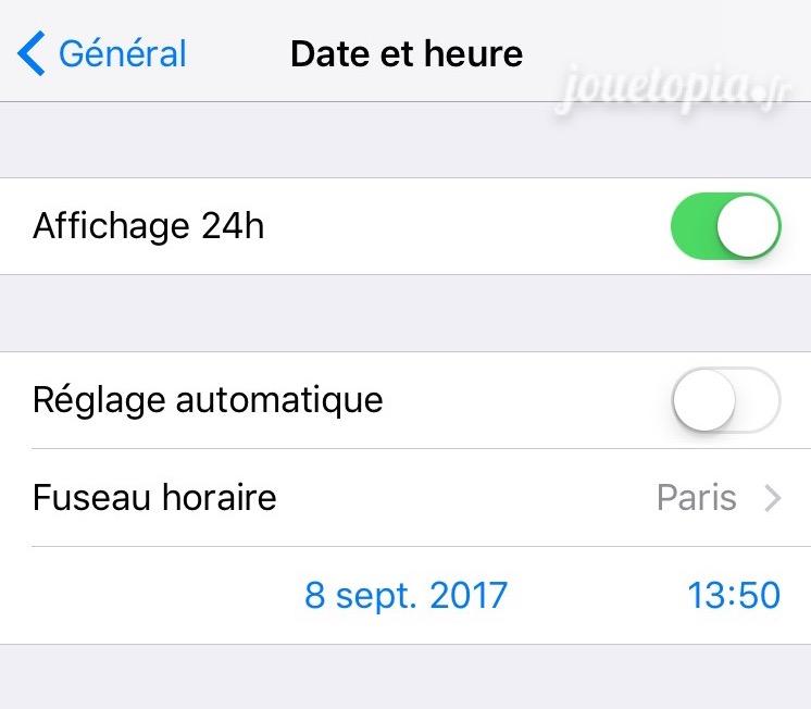 Réglages Date et heure sur iOS (Apple)
