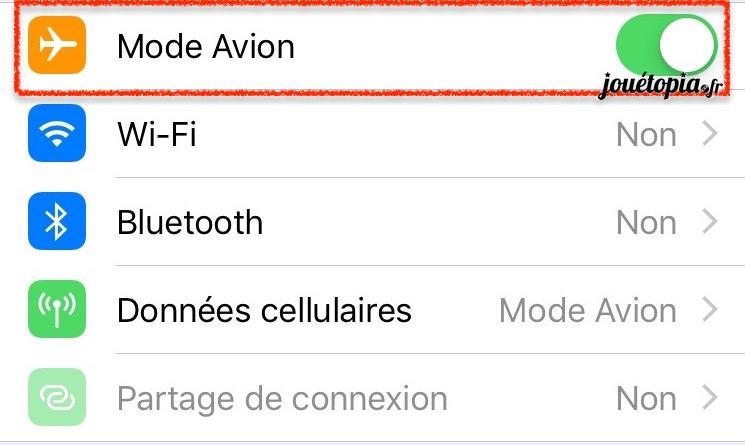 Activer le mode avion sur iPhone
