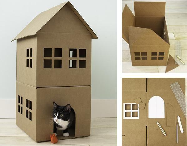 Maison pour chats en carton