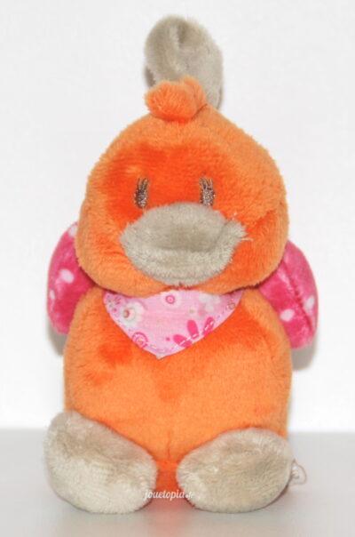 Mini-peluche Babette Noukies (doudou canard orange)