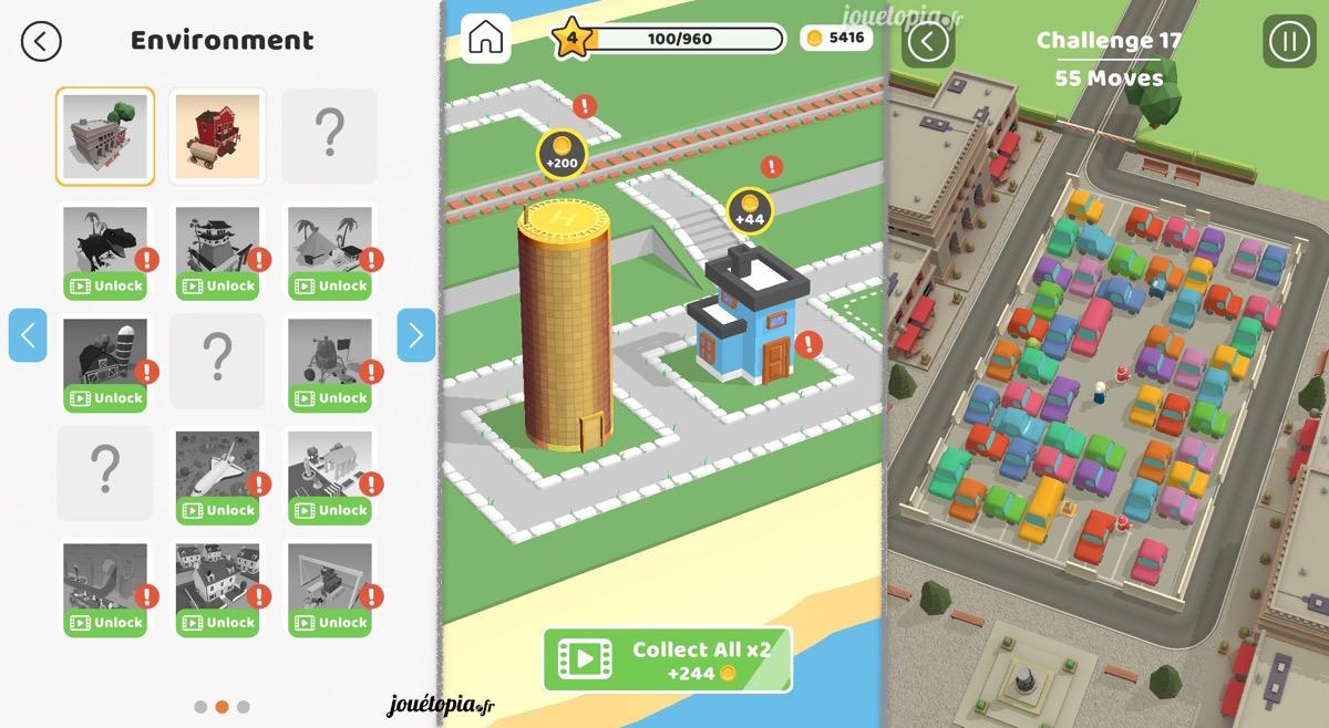 Fonctionnalités du jeu Parking Jam 3D