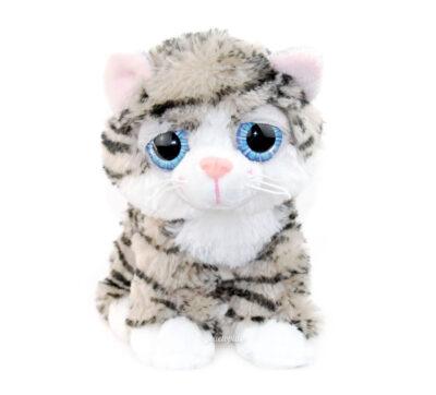 Peluche chat tigré doux aux yeux bleus