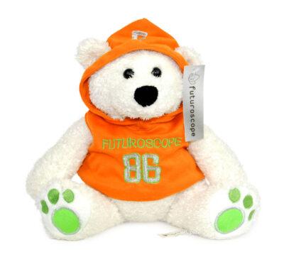 Peluche ours blanc orange Futuroscope 86