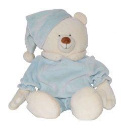Peluche ours blanc en pyjama bleu