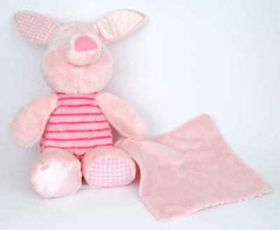 Peluche rose Porcinet avec mouchoir (Disney)