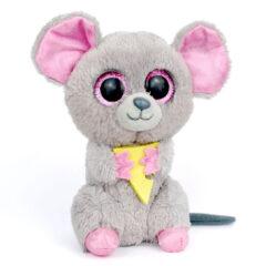 Peluche Ty Squeaker souris grise et rose