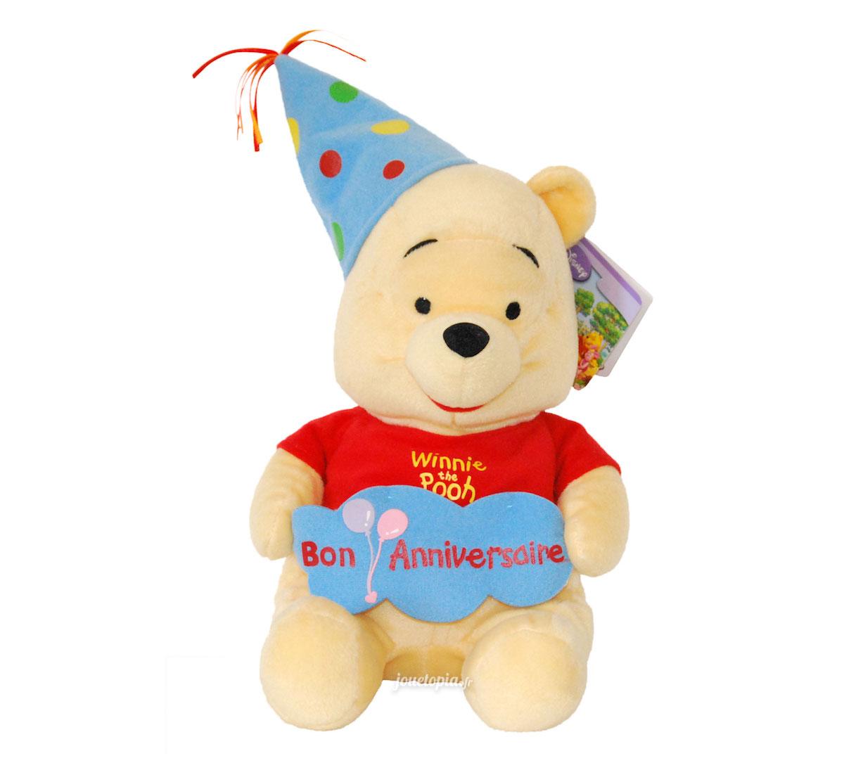 Peluche Winnie Lourson Bon Anniversaire Disney