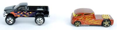 Miniatures Hot Wheels Ford F-150 noir et Qombee marron