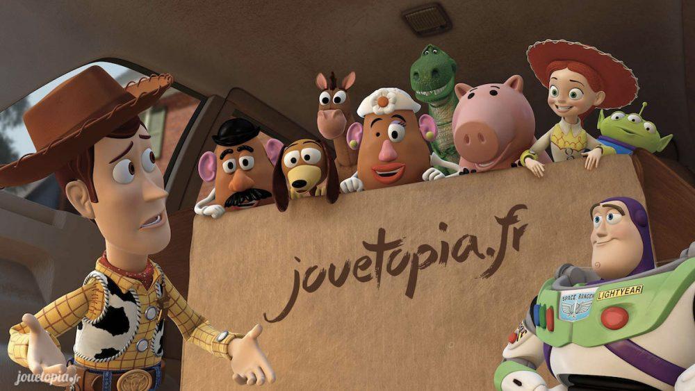 Les personnages de Toy Story dans un carton Jouétopia