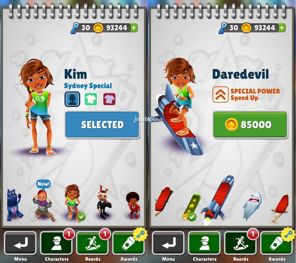 Subway Surfers : Personnalisation